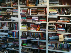 A partial view of my bookshelves Photo Credit: Doree Weller
