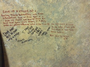 As seen on a bathroom wall stall...