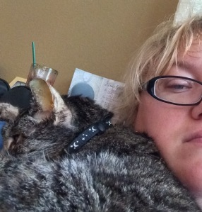 Moonshyne on my shoulder, her favorite sleeping spot.